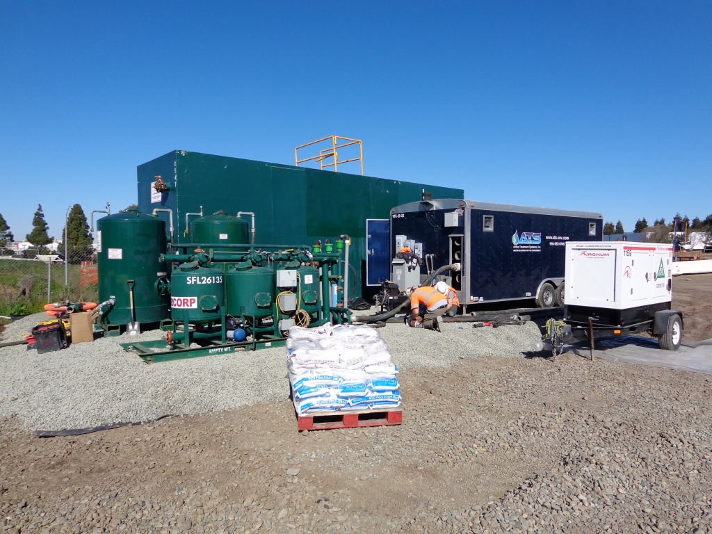 Our service staff of operators setting up a groundwater treatment system – you can clearly see that the specialized filter media will be loaded on site in accordance with the site specific mobilization plan